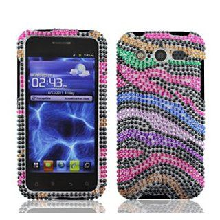 Huawei Mercury M886 M 886 / Glory Cell Phone Full Crystals Diamonds Bling Protective Case Cover Black with Rainbow Color Zebra Animal Skin Design Cell Phones & Accessories