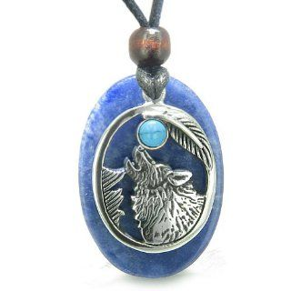 Amulet Courage Howling Wolf and Moon Charm in Sodalite and Man Made Turquoise Eye Gemstones Pendant Adjustable Necklace Jewelry