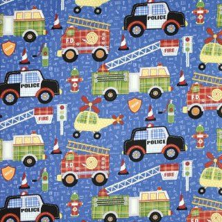 Northcott Rescue 911 Large Fire Trucks, Police Cars, & Helicopters Blue Fabric Yardage