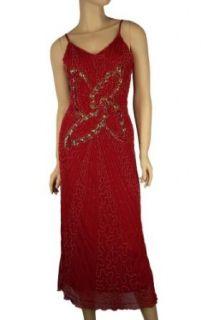 Alivila.Y Fashion Spaghetti Strap Handsewn Sequins Beads Butterfly Women's Fashion Party Dance Dress 3706 Dark Red One Size Fits Size 6 to 16