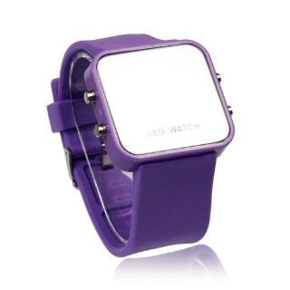 Men Lady Sport Unisex Luxury Mirror LED Digital Date Jelly Soft Rubber Material Gift Casual Wrist Watch Purple at  Men's Watch store.