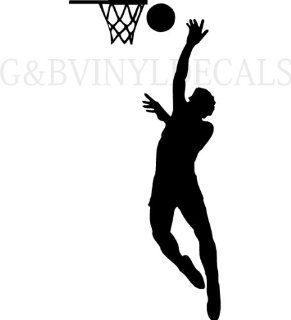 BOYS BASKETBALL PLAYER SILHOUETTE BOYS ROOM WALL LETTERING VINYL DECAL LARGE SIZE   Wall Decor Stickers
