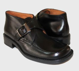 Genuine Black Leather Buckle Short Boot by Givaldi of Italy #8952 Shoes