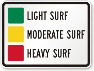 "Light Surf, Moderate Surf, Heavy Surf, Heavy Duty Aluminum Sign, 80 mil, 24"" x 18"""
