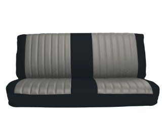 Acme U1005 898L Front Black Vinyl Bench Seat Upholstery with Silver Regal Velour Pleated Inserts Automotive