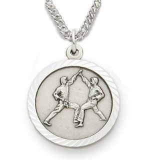 ".925 Sterling Silver Karate and Martial Arts Medal Pendant, St. Saint Christopher on Back Sports Jewelry w/Chain 20"" Length Rhodium Plated Strong Stainless Steel Necklace, Gift Boxed for Boys, Girls, Men or Women Jewelry"