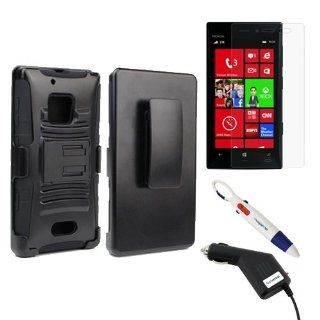 BIRUGEAR Holster Cover Case with Kick Stand + Clear Screen Protector + Car Charger for Nokia Lumia 928 (Verizon) with *4 Color Clip Pen*   Black Cell Phones & Accessories