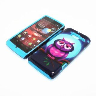 For Motorola Droid Razr M XT907 / Motorola RAZR i XT890 2 in 1 Hybrid Cover Case Full Moon Owl PC + Blue Silicone Cell Phones & Accessories