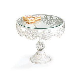 Metal & Glass White Pedestal Cake Stand great for Wedding, Birthday, Baby Showers, Entertaining, or bakery displays Kitchen & Dining
