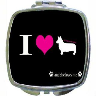 Rikki KnightTM I Love My Cardigan Welsh Corgi Dog Design Compact Mirror  Personal Makeup Mirrors  Beauty