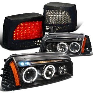 Dodge Charger Black Led Halo Headlights, Corner Lamp, Piano Black Led Tail Light Automotive