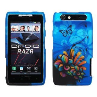 Blue Butterfly Orange Green Pink Daisy Flower Design Rubberized Snap on Hard Cover Protector Shell Skin Case for Verizon Motorola DROID RAZR XT912 + LCD Screen Guard Film + Mini Phone Stand + Case Opener Cell Phones & Accessories