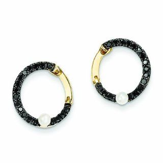 Genuine 14K Yellow Gold Black Diamond And Fresh Water Pearl Hoop Earrings 1.6 Grams of Gold Jewelry