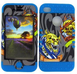 For Apple Iphone 4 4s Skulls On Gray Heavy Duty Case + Light Blue Rubber Skin Accessories Cell Phones & Accessories
