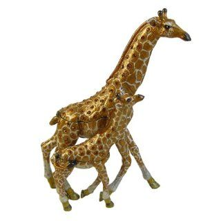 Running Giraffe & Baby Trinket Box with Swarovski Crystals   Decorative Boxes