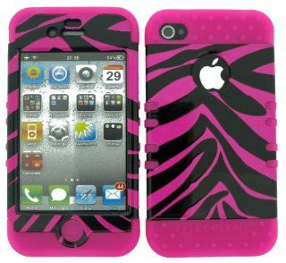 APPLE IPHONE 4 4S PINK BLACK ZEBRA HEAVY DUTY CASE + HOT PINK GEL SKIN SNAP ON PROTECTOR ACCESSORY Cell Phones & Accessories
