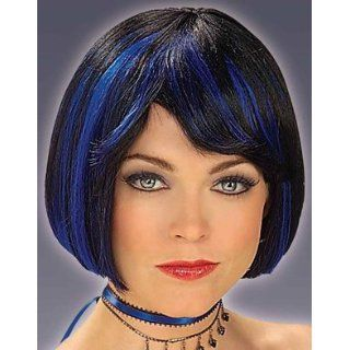Adult Black Costume Midnight Blue Highlights Bob Wig Clothing