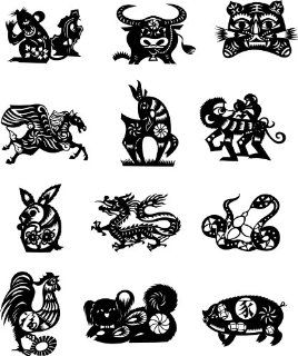 Chinese Zodiac Animals Wall Sticker Decal Silhouette Decoration   Black   Chinese Animal Calendar