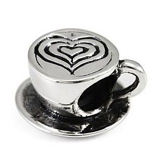 Authentic OHM Love My Latte Coffee Cup 925 Sterling Silver Bead fits European Charm Bracelet Jewelry