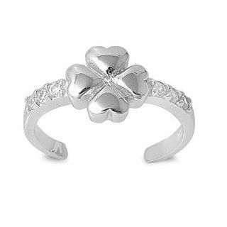 7MM Italian .925 Sterling Silver LUCKY CHARM FOUR LEAF CLOVER Summer Flip Flops Sandal Toe Ring (One Size Fit All) Jewelry