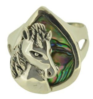 Sz 7 Horse Abalone Paua Shell Sterling Silver 925 Ring Jewelry
