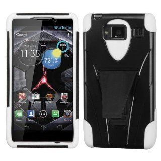 MYBAT AMOTXT926WHPCSAAS102NP Advanced Armor Rugged Durable Hybrid Case with Kickstand for Motorola Droid RAZR MAXX HD   1 Pack   Retail Packaging   White Cell Phones & Accessories