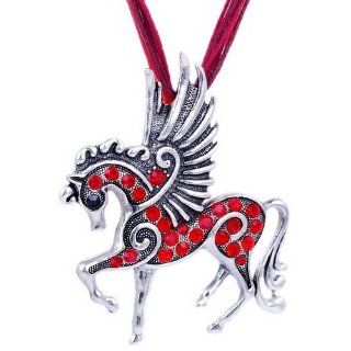 Fashion Girl/ Ladys Costume Horse pendant necklace Alloy Rhinestone Party Red Jewelry