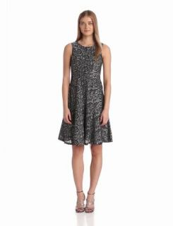 Anne Klein Women's Lace Print Hourglass Swing Dress
