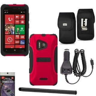 Trident Aegis Red Heavy Duty Hybrid Tough Cover for Nokia Lumia 928 Bundle Pack   5 items. Hard Shell and Silicone Gel, with Screen Protector and Car Charger, Stylus Pen, Radiation Shield and Vertical Metal Clip Case that fits your phone with the Cover on