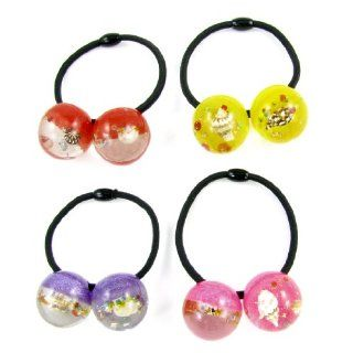4pcs Girl Conch Glittery Powder Inlaid Colored Beads Decor Stretchy Hair Band Tie  Ponytail Holders  Beauty