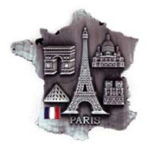"Fridge Magnet 5 Monuments of Paris in a France Map 2.5""x2.5""   Collectible Buildings"