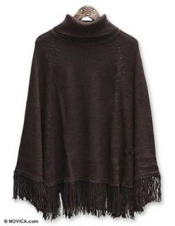 Alpaca wool poncho, 'Dark Chocolate'