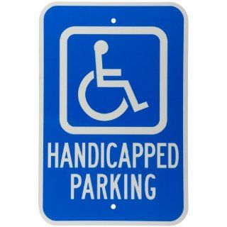 "Brady 103780 12"" Width x 18"" Height B 959 Reflective Aluminum, White on Blue Handicap Parking Sign, Legend ""Handicapped Parking"" Industrial Warning Signs"