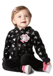 Disney Baby Girls Infant Minnie Mouse 2 Piece Bow Velour Hoodie Set, Black, 12 Months Clothing