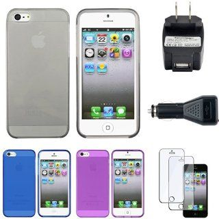 CommonByte 6 Clear Frost Smoke+Blue+Purple TPU Case+Film+Car+AC Travel Charger For iPhone 5 Cell Phones & Accessories