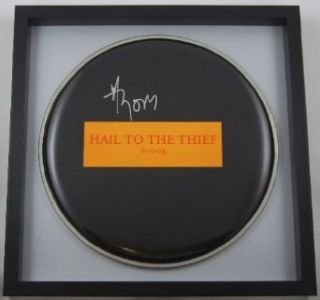 Thom Yorke Radiohead Hail to the Theif Signed Autographed Ebony Drumhead Loa Entertainment Collectibles
