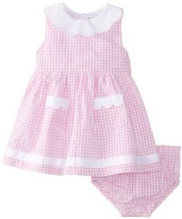 Hartstrings Baby Girls Newborn Baby Girl Cotton Seersucker Check Dress Clothing