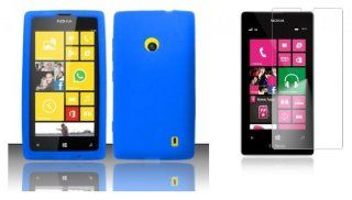 Nokia Lumia 521 / 520   Accessory Kit   Blue Silicone Gel Cover + Atom LED Keychain Light + Screen Protector Cell Phones & Accessories