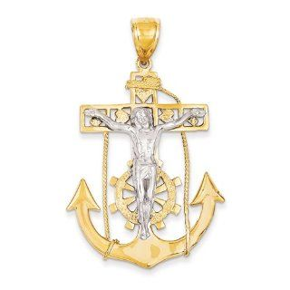 14k Two tone Mariner's Crucifix Pendant Jewelry