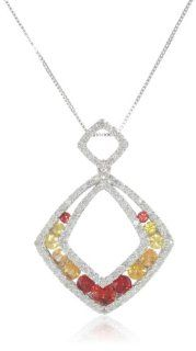 "10k White Gold Shades of Orange Sapphire and Diamond Cushion Cut Pendant Necklace, 18"" Jewelry"