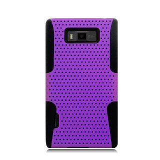 Eagle Cell PHLGUS730NTBKPL Progressive Hybrid Protective Gummy TPU Mesh Defense Case for LG Splendor/Venice US730   Retail Packaging   Black/Purple Cell Phones & Accessories