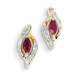 14k Yellow Gold Diamond & Ruby Earrings Jewelry