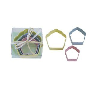 Dress My Cupcake DMC41CC1813 Cupcake 3 Piece Cookie Cutter Set, Bright Colors Kitchen & Dining