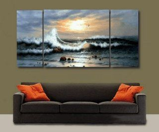 3 Pics Paciffic Ocean Big Wave Seascape Large Modern Art 100% Hand Painted Oil Painting on Canvas Wall Art Deco Home Decoration (Unstretch No Frame)