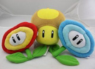 Super Mario Bros Gloden Mushroom & Fire Flower & Ice Flower Plush Doll Soft Toy Nintendo Toys & Games