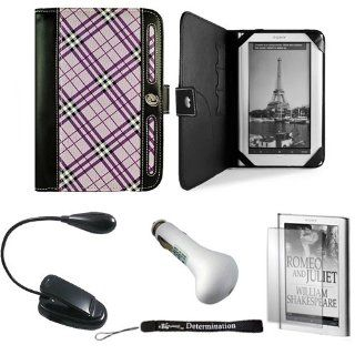 Purple Plaid Agenda Lining Leather Flip Jacket Portfolio Cover Carrying Case for Sony PRS 950 Electronic Reader eReader Device ( PRS 950 PRS950 )(Compatible with all colors) + Indlues a 4 Inch Determination Hand Strap + Includes a Anti Glare Screen Protect