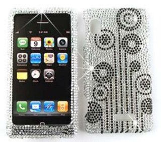 Motorola Droid 2 A955 Full Diamond Crystal, Black Flowers on White Hard Case, Cover, Faceplate, SnapOn, Protector Cell Phones & Accessories