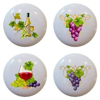 Set of 3 Red Wine Grape Ceramic Knobs Pulls Kitchen Drawer Cabinet Closet 955   Cabinet And Furniture Knobs