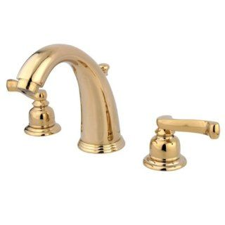 Kingston Brass KB982FL Royale Widespread Lavatory Faucet with Brass Pop Up, Polished Brass   Touch On Bathroom Sink Faucets