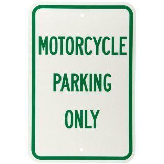 "Brady 112623 12"" Width x 18"" Height B 959 Reflective Aluminum Green on White Parking Sign, Legend ""Motorcycle Parking Only"" Industrial Warning Signs"